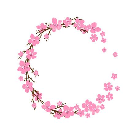 Corona de primavera con flores de cerezo. Lugar para el texto. Ilustración de vector