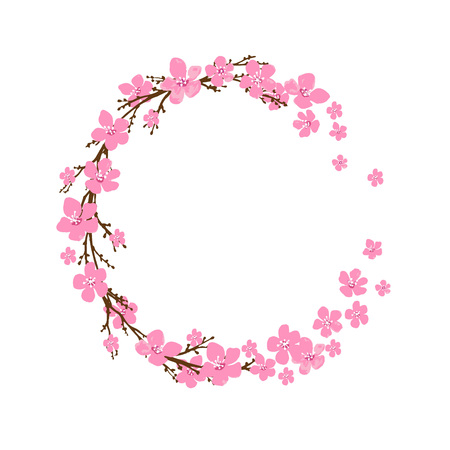 sakura flowers: Spring wreath with cherry blossoms. Place for text.