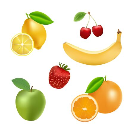 summer diet: Collection of fresh fruits for differernt projects. Illustration