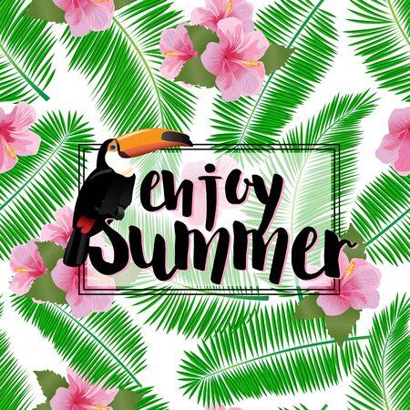 eslogan: Fondo tropical vacaciones exóticas con la palma y el lema.