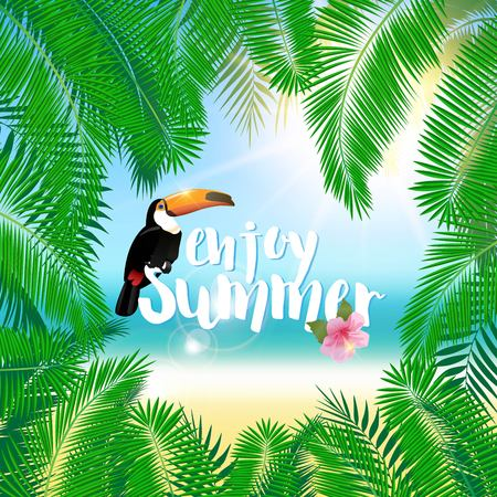 miami south beach: Tropical exotic vacation background with palm and slogan. Illustration