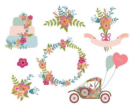 romantic: Floral romantic design elements for different uses.