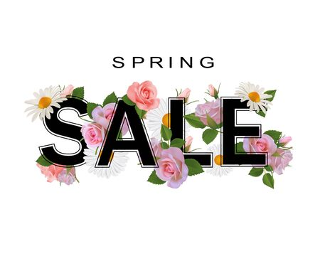 Spring sale background with flowers, roses and chamomiles.