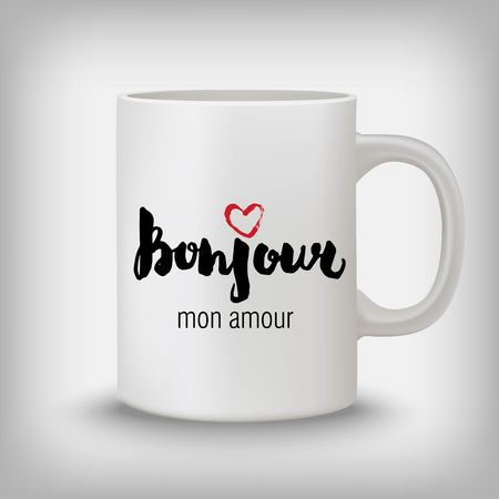bonjour: Bonjour mon amour - hello my love, French stylish hand drawn design. Illustration