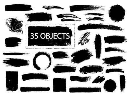 black stroke: Collection of hand drawn creative design elements