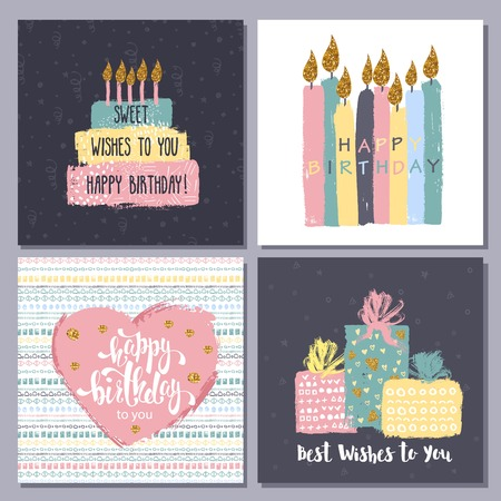 Universal Birthday Cards Set For Different Congrats Royalty Free