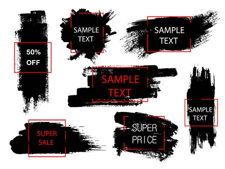 Set of black paint, ink brush strokes and geometric shapes. Grunge brush stroke. Creative artistic hand drawn design elements. Place for text or quote.
