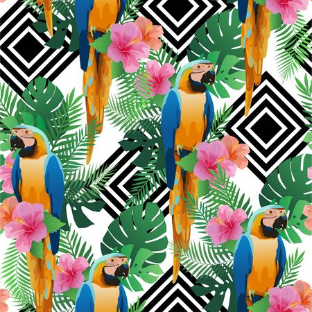 birds of paradise: Endless tropical texture. Colorful seamless pattern with pink flowers and parrot.
