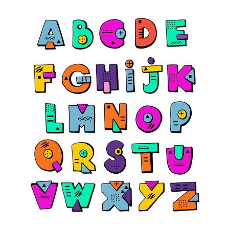 Kids alphabet hand drawn cartoon letters.