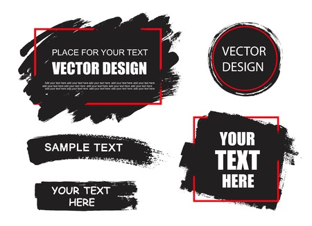 Set of creative grunge banners, frames, stickers, backgrounds. Hand drawn textures design element. Place for text, information, quote.