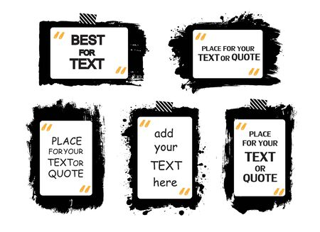 information design: Set of creative grunge banners, frames, stickers, backgrounds. Hand drawn textures design element. Place for text, information, quote.