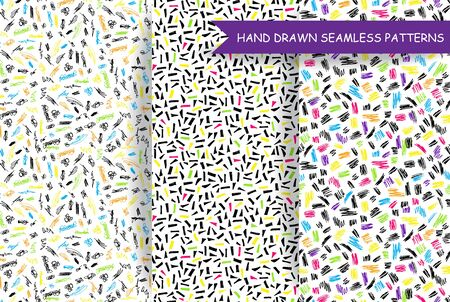cool backgrounds: Set of hand drawn doodle seamless patterns, backgrounds, backdrop. Cool colorful creative abstract endless textures. Illustration