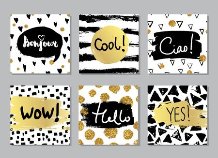 Creative fashion glamour hand drawn calligraphic card set. Vector collection of black, white, gold textured cards. Beautiful posters with geometric shapes. Sign hello in french and italian. Vettoriali