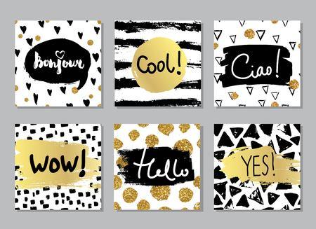 Kreative Mode Glamour Hand kalligraphischer Karten-Set gezogen. Vektor-Sammlung von schwarz, weiß, gold strukturierte Karten. Schöne Poster mit geometrischen Formen. Melden Sie hallo in Französisch und Italienisch.