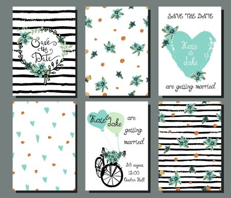 romantic date: Collection of 6 cute hand drawn card templates. Save the date, baby shower, bridal, birthday, Valentines day, wedding, marriage, romantic. Stylish seamless patterns and illustrations. Vector. Illustration