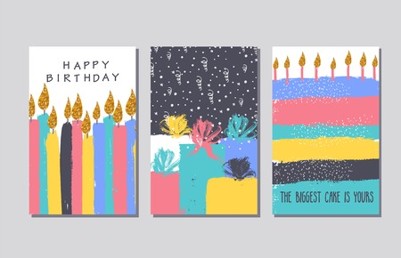 Collection of hand drawn cards and invitations with gold glitter texture. Candles, cake, gift boxes. Greeting happy birthday cards.