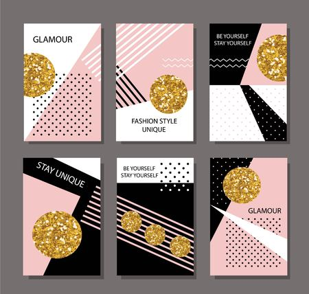 pink and black: Collection of card template with gold glitter, pink, black, white polka dots. Illustration