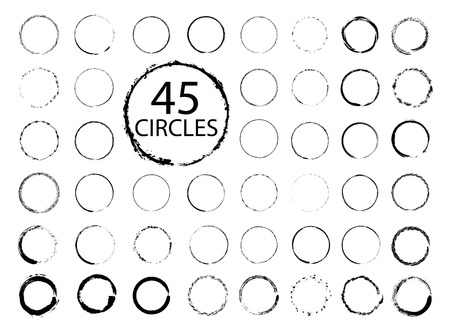 Big collection of hand drawn circles. Vector grunge design elements. Imagens - 64691919
