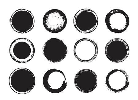 Artistiek creatief geschilderde cirkel, etiket, branding. Black zen enso round. Vector illustratie. Stock Illustratie