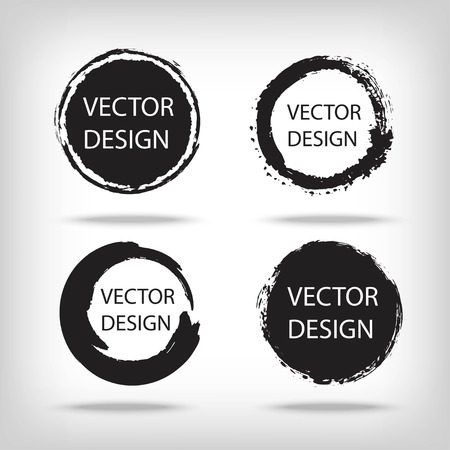 Artistic creative painted circle for label, branding. Black enso zen round. Vector illustration.  イラスト・ベクター素材
