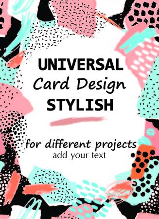 Hand drawn artistic creative universal card. Collage stylish design.