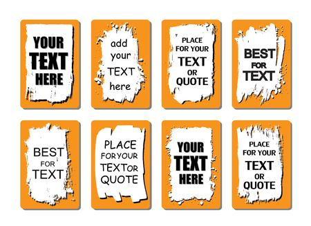 paint box: Vector quote or text boxes collection. Hand drawn frames. Grunge brush strokes, splatter textures. Illustration