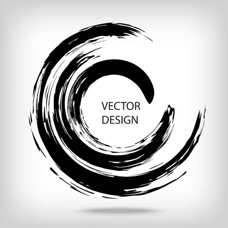 Hand drawn circle shape. Circular label, design element, frame. Brush abstract wave. Black enso zen symbol. Vector illustration. Place for text.