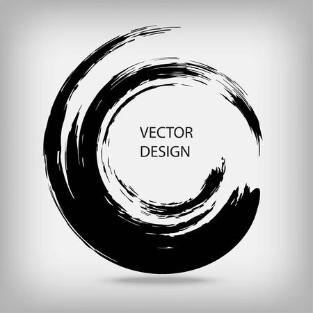 Tirée par la main en forme de cercle. étiquette circulaire, élément de design, cadre. Badigeonner vague abstraite. enso Noir symbole zen. Vector illustration. Placez pour le texte. Banque d'images - 64692129