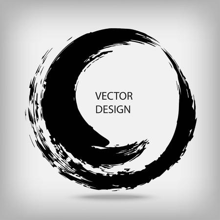 Hand getrokken cirkel vorm. Cirkelvormige label, design element, frame. Borstel abstracte golf. Black enso zensymbool. Vector illustratie. Plaats voor tekst.