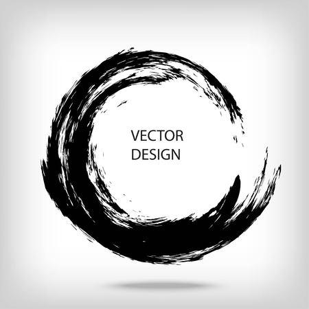 Tirée par la main en forme de cercle. étiquette circulaire, élément de design, cadre. Badigeonner vague abstraite. enso Noir symbole zen. Vector illustration. Placez pour le texte. Vecteurs