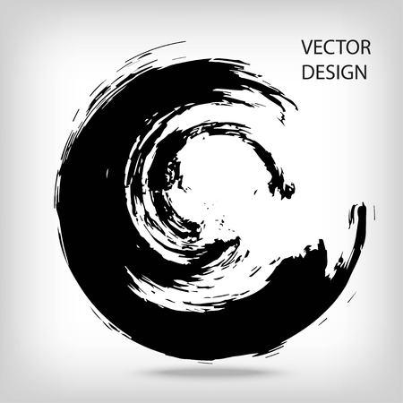 手は、円の図形を描画します。円形ラベル、デザイン要素、フレーム。ブラシの抽象的な波。黒 enso 禅のシンボル。ベクトルの図。テキストを配置