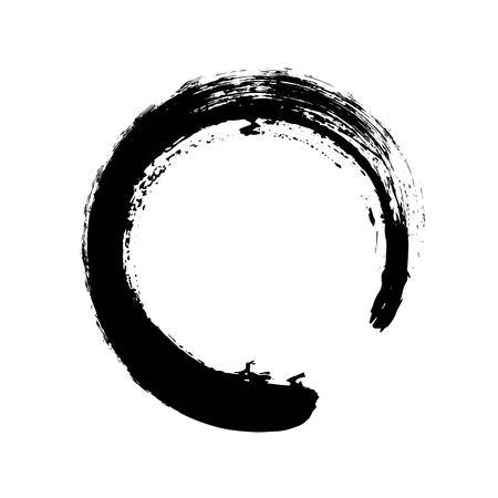 Dibujado a mano la forma de círculo. etiqueta circular, elemento de diseño, marco. Cepillar abstracto de la onda. ENOS negro símbolo del zen. Ilustración del vector. El lugar de texto.