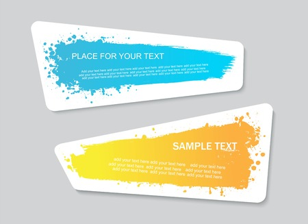 Vector quote or text boxes collection. Hand drawn frames. Grunge brush strokes, splatter textures. Ilustração