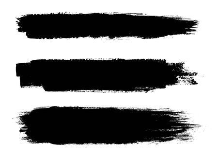 Set van zwarte verf, inktborstelslagen, borstels, lijnen. Vuile artistieke ontwerpelementen. Stock Illustratie