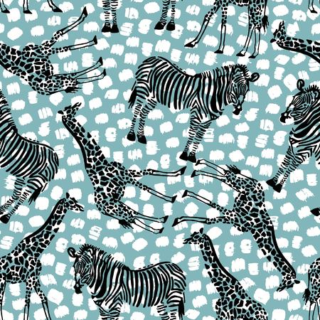 animal pattern: Seamless tropical pattern for fabric design or other uses. Endless exotic background. Illustration
