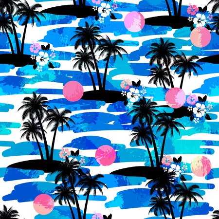 surfing beach: Exotic creative wallpaper for different summer projects and uses.
