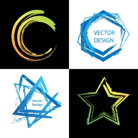 Collection of different geometric shapes for logo, label, branding. Brush abstract design elements. Triangle, star, circle, hexagon. Vettoriali