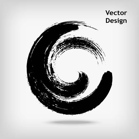 chinese brush: Artistic creative painted circle for logo, label, branding. Black enso zen round. Vector illustration.