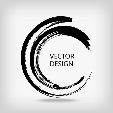 and sumi: Artistic creative painted circle for logo, label, branding. Black enso zen round. Vector illustration.