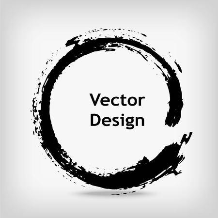 芸術的な創造的なロゴ、円を描いたラベル、ブランドします。黒 enso 禅をラウンドします。ベクトルの図。  イラスト・ベクター素材