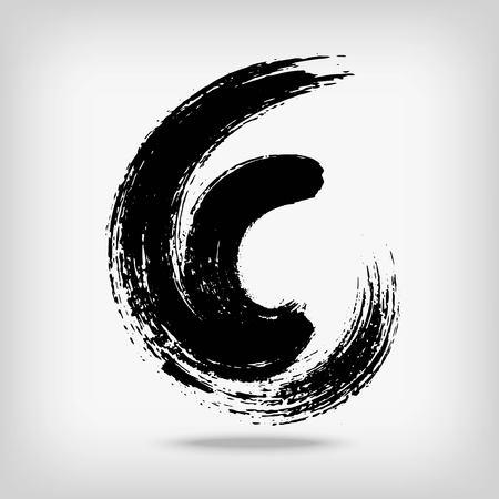 Artistic creative painted circle for logo, label, branding. Black enso zen round. Vector illustration.