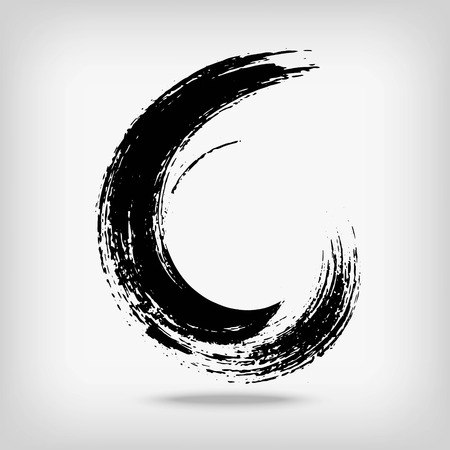 edge: Artistic creative painted circle for logo, label, branding. Black enso zen round. Vector illustration.