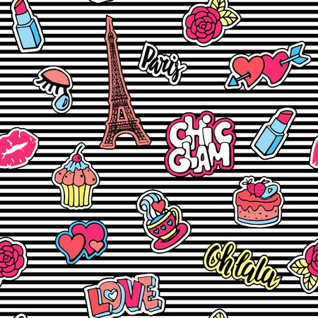 Cute fashion seamless pattern with patch badges.Lips, hearts, Eiffel tower, flower, cake, eye, lipstick. Paris romantic design. Vettoriali