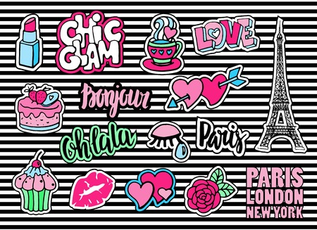 Cute fashion patch badges with lips, hearts, Eiffel tower, flower, cake, eye, lipstick. Paris romantic design. Set of doodle stickers, pins, in cartoon 80s-90s comic style. Sign hello in french.