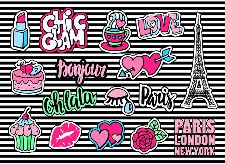 Leuke mode patch badges met lippen, harten, Eiffeltoren, bloem, cake, oog, lippenstift. Parijs romantisch ontwerp. Set van doodle stickers, pennen, in cartoon 80s-90s comic stijl. Log hallo in het Frans.