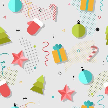 xmas star: New year and Xmas seamless pattern with gift, noel, star, ball, confetti. Bright flat colors design.