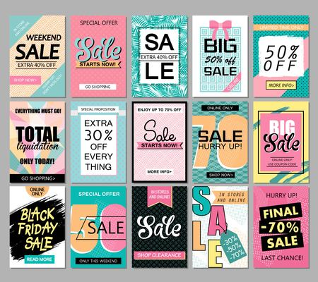 Set of social media sale website and mobile banner templates. Vector banners, posters, flyers, email, newsletter, ads, promotional material.