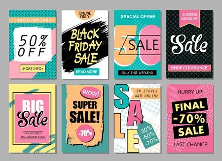 Set van sociale media verkoop website en mobiele banner sjablonen. Vectorbanners, posters, flyers, e-mail, nieuwsbrief, advertenties, promotiemateriaal.
