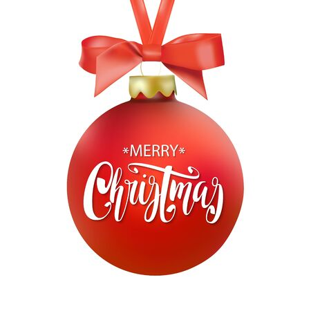 caes: Red Merry Christmas ball with ribbon and a bow, hand drawn lettering. Isolated on white background. Vectores