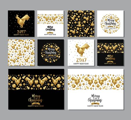 xmas star: Set of Xmas and New Year golden metallic greeting cards, invitations, flyers, banners. Christmas holiday elements - star, confetti, ball, noel, rooster. Origami paper style.